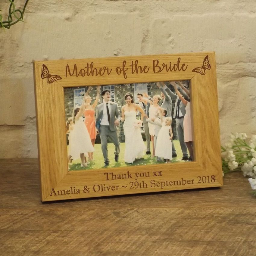 Personalised Mother of the Bride Wooden Photo Frame, Wedding Gift, Butterfly Design